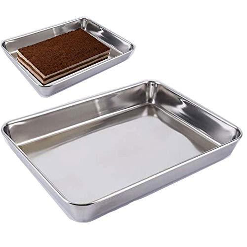 Baking Cookie Sheets Pans,Jelly-Roll Pans Roasting Pan,Stainless Steel Baking Pans Tray Cookie Sheet,Nonstick Toaster Oven Baking Sheet Pans, Easy Clean & Dishwasher Safe (16.2'' x 12.6'')