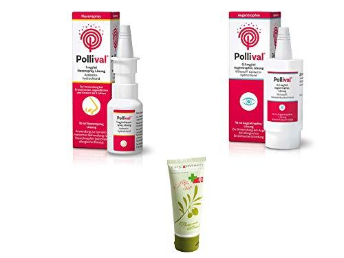 Pollival Heuschnupfen Sparset - Nasenspray 1mg/ml, 10 ml & Augentropfen 0,5mg/ml, 10 ml Inkl. GRATIS Rats-Apotheke Olivenöl Pflegecreme