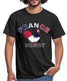 Rugby Coq De France T-Shirt Homme, XL, Noir