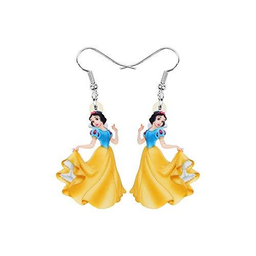 Pendientes de gota de acrílico con estampado de princesa blanca como nieve en amarillo vestido de dibujos animados