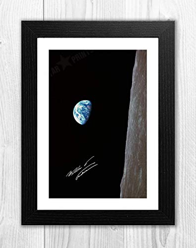 Engravia Digital Apollo 8 Earthrise Taken by Bill Anders Reproduction photogragh Picture Poster A4 Print  (Black Frame) Dining Features Kitchen Posters Prints