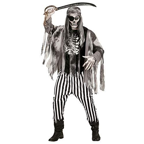 WIDMANN Disfraz Adulto Barco Fantasma de Las Arenas, Costillas impresin Camiseta, Chaqueta, Pantalones y Bandana