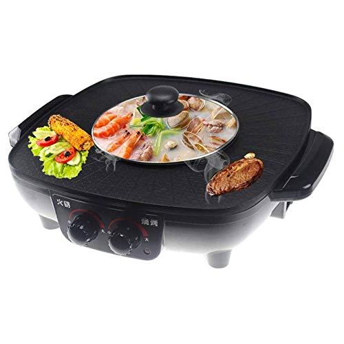 WMMCM Multifunctionele elektrische hotpannen, elektrische grill, oven, pan, elektrisch fornuis, geïntegreerd elektrisch fornuis, hotpot, elektrische pan, grill, 40 cm