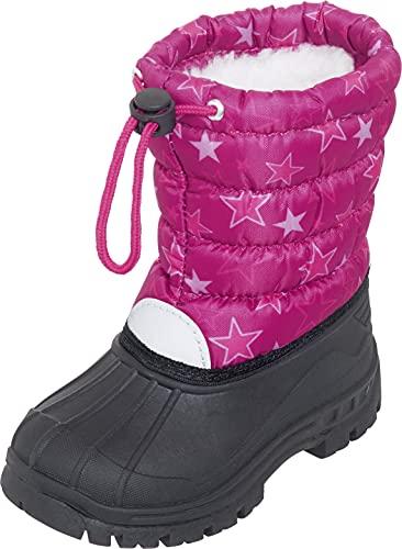 Playshoes Dziecięce buty zimowe w gwiazdki, uniseks, różowy - Różowy 18-24/25 EU