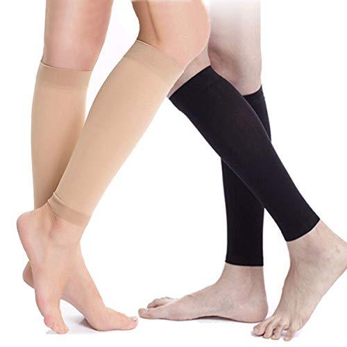 1 Paar Medizinische Kompressionsstrümpfe Socken Lindern Wadenschmerzen Schwellung Krampfadern (Color : Black, Size : M)