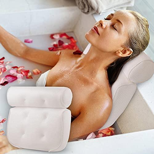 Badewannenkissen[Weiß 3D], Premium Badewanne Kopfkissen mit Wandhaken und 4 Starken Rutschfesten Saugnäpfen Nackenkissen für Badewanne als Badewannen Zubehör für Home Spa Whirlpool - Badekissen