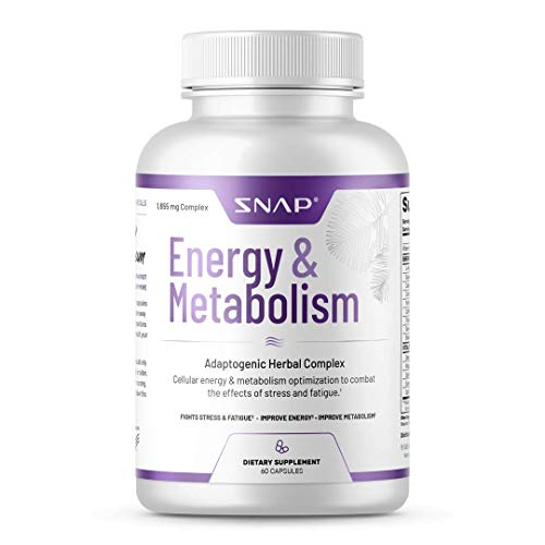 Snap Supplements Natural Energy & Metabolism Booster - Supports Weight Control, Reduce Belly Fat, Stress Relief with L-arginine Herbs, Cordyceps, Maca Root, Suma Root - 60 Capsules
