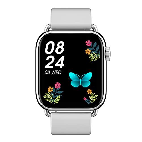 Smartwatch Reloj Inteligente Impermeable IP67 Con Monitor De Sueño Pulsómetros Cronómetros Contador De Caloría, Pulsera De Actividad Inteligente Para Hombre Mujer Niños Con Ios Y Android,Plata,Tape