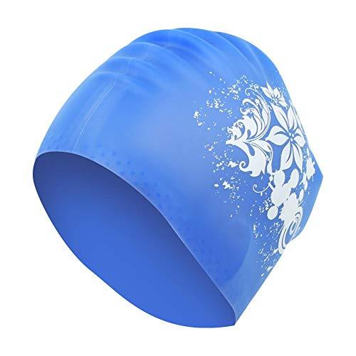 VGEBY1 Cuffia per Capelli Lunghi, Copertura per Cuffia in Silicone Ecologica Unisex con Set di Protezione per Il Nuoto alla Moda(Blu)