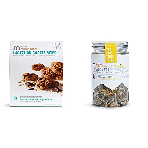 Milkmakers Lactation Cookie Bites, Oatmeal Chocolate Chip, 10 Ct & Milkmakers Lactation Tea, Lemon, 12 Count