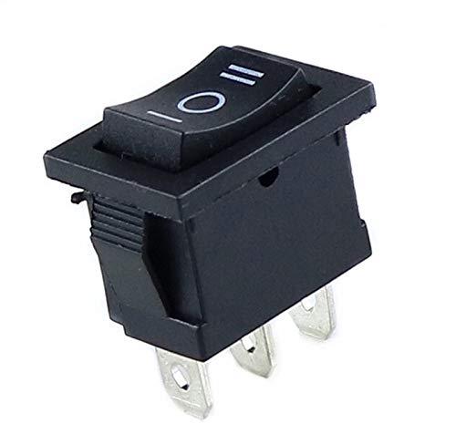 JSJJAYH Interruptor basculante 6A 250VAC / 10A 125VAC ON/Off/ON Rectangle Rocker Switch 3 Posicion Coche Dashboard Dash Boat SPDT 12V 3 Pin Accesorios