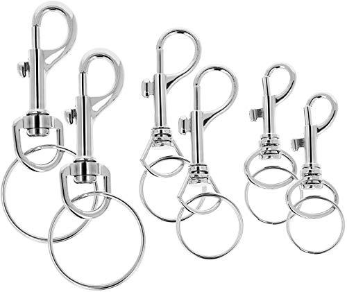 com-four® 6X Karabinerhaken mit Drehgelenk und Schlüsselring - Schlüsselanhänger mit Karabiner-Schnappverschluss in 3 Größen (06 Stück - Mix)