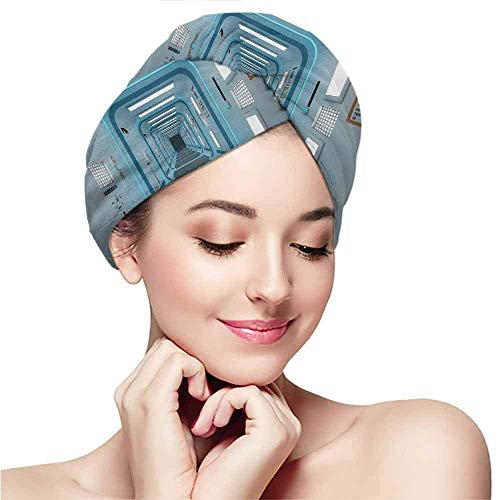RTFGH Gorro para el cabello seco Womens silky double satin sleep cap with premium elastics.Outer Space,Galactic Hallway with Caution Signs Discovery Explore Invasion Print Artwork,Blue White