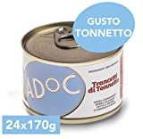 Adoc - Cibo Umido per Cani Adulti con Ingredienti Naturali Trancetti di Tonnetto - 24 lattine da 170gr