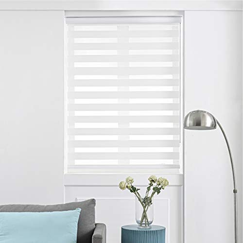 Persilux Zebra Dual Layer Roller Sheer Shades, Blackout Light Filtering UV and Privacy Protection, Window Combi Blinds Day and Night for Home and Office, Easy to Install (72' W X 72' H, White)