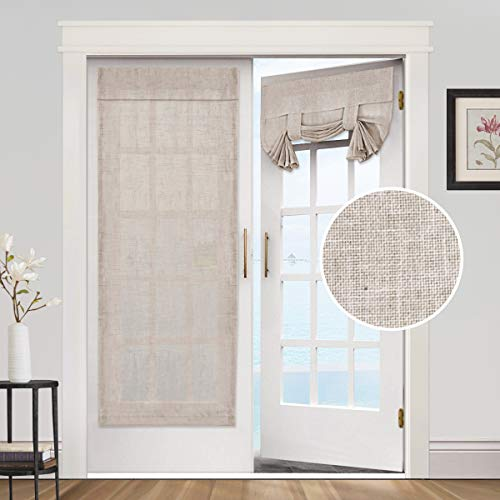Privacy French Door Curtains- Linen Blended Weave Textured Tricia Tie Up Light Filtering Functional Thermal Insulated Portable Panel Drapes for Home and Office,26 x 68 inches, 2 Panels, Angora