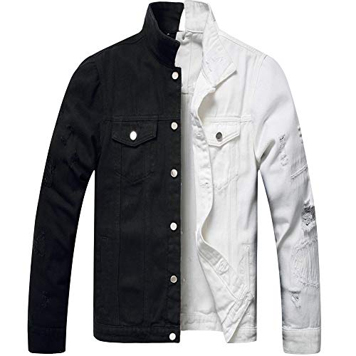 LZLER Jean Jacket for Men,Separable Left&Right Ripped Slim Fit Mens Denim Jacket(White-Black, XX-Large)