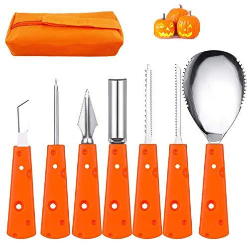 Kürbis-Schnitzwerkzeug-Set, 7-teilig, Edelstahl, Halloween-Messer, strapazierfähig, Kürbis-Modellierwerkzeug, Set mit Jack-O-Lantern für Halloween-Dekoration mit Aufbewahrungstasche
