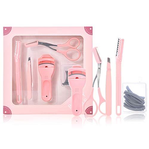 ZOYLINK 5 Pièces Trousse à Outils Pour Cils Ciseaux De Maquillage Réutilisables Pinces à Cils Bigoudi Sourcils Rasoirs à Sourcils Recharges Pour Femmes Filles