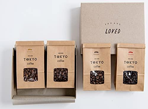 父の日メッセージカード付き オーガニックコーヒー豆 お試しセット 【100g x 4袋】 TOKYO COFFEE サンプル スペシャリティーコーヒー JAS認証 (中挽き)