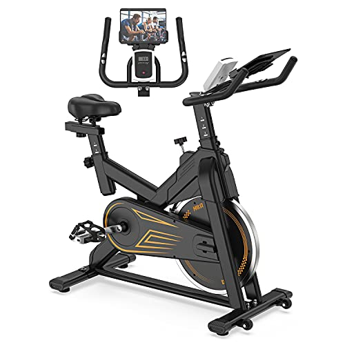 Indoor Cycling Bike Stationary - Exercise Bike for Home Cardio Workout with Comfortable Seat Cushion & Silent Belt Drive & Pad Holder