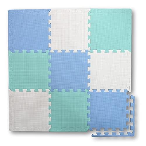 Alfombra Puzzle de Goma EVA para niños. 1 cm. de Espesor. 9 Piezas Intercambiables. Verde, Celeste y Blanco