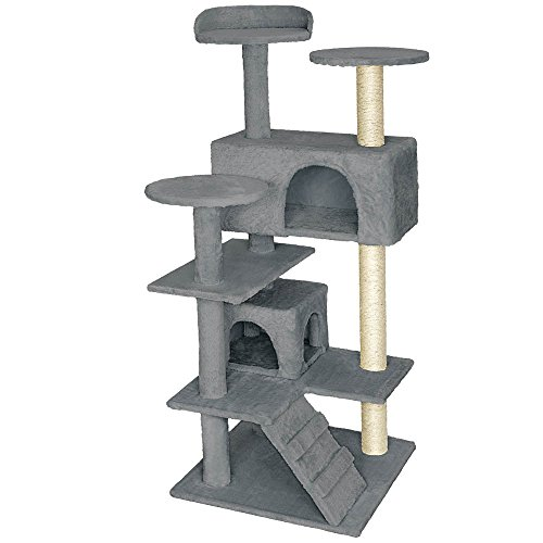 TecTake Arbre á chat Griffoir Grattoir avec 2 grottes 132cm - diverses couleurs au choix - (Gris |...