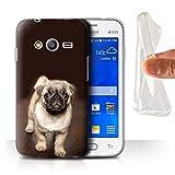 Coque pour Samsung Galaxy Trend 2 Lite/G318 Photos Mignonnes Bébé Animal Mignon Carlin Chien Chiot Désign Transparent Doux...