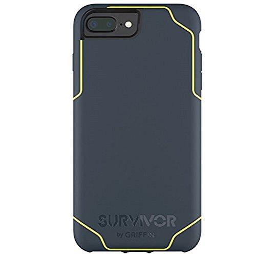 Griffin GB42900 Survivor Adventure beschermhoes voor Apple iPhone 7 Plus/7 Plus Dual/6S Plus/6 Plus zwart/rook/helder, Survivor Journey, iPhone 7+/7+ Dual/6s+/6+, denim/neongeel.