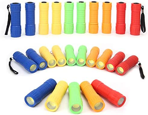30 Pack Small Mini Flashlight Set 5 Colors COB LED Handheld flashlight with Lanyard 90 Pack product image