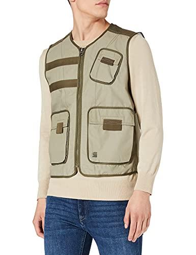 G-STAR RAW Men's Utility Fabric Mix Poplin Down Vest, Shamrock A790-2199, M
