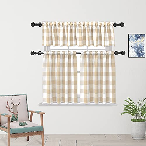 """3 Pieces Tier Curtains and Valance Set Beige White Farmhouse Kitchen Window Tiers Classic Buffalo Check Small Short Bathroom Curtain Cotton Blended Plaid Gingham Half Window Cafe Curtains 24"""""""