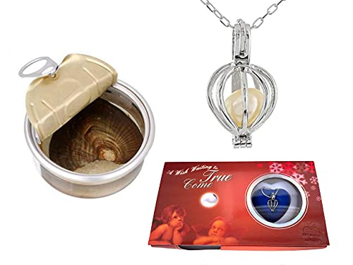 Make a Wish Necklace – Open Your Own Freshwater Oyster Pearl – Includes Cage Pendant and Chain