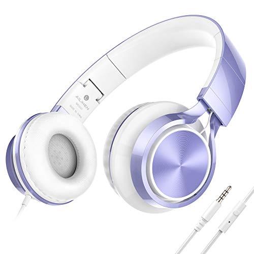 AILIHEN MS300 Cuffie Over Ear Pieghevole Auricolare cablato da 3,5 mm per smartphone Computer PC Tablet- viola
