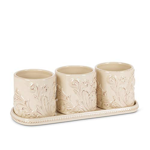 GG Collection Acanthus Indoor Outdoor Herb, Flower, or Plant Holders with Tray