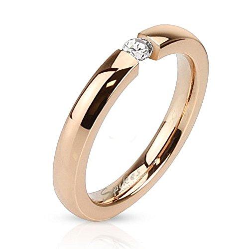 Paula & Fritz R-M3098R Anello per donna e uomo, anello di fidanzamento, anello dell'amicizia, per partner, in acciaio chirurgico 316L, oro rosa con zircone incastonato, larghezza 3 mm, misure 7 (15 mm) – 21 (19,5 mm), acciaio inossidabile, 57 (18.1), colore: oro rosa, cod. R-M3098R_80