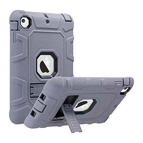 ULAK iPad Mini 1/2/3 Hülle, [Armor Serie] Stoßfest Schutzhülle mit Kickstand 3 in 1 Soft Silikon + Hart PC Tasche Standfunktion case cover für Apple iPad Mini /Mini 2/Mini 3 - Grau