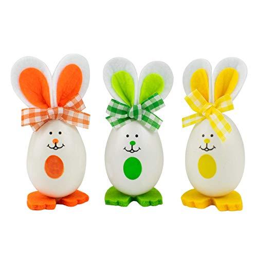 TRIXES Lot de 3 décorations œufs de Pâques en Forme de Lapin Vert / Orange / Jaune