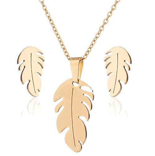3PCS Women's Pendant Necklace Earring Set, Fashion Jewelry, Silver Gold Exquisite Feather Clavicle Necklace Chain Lightweight Pendant with Earrings Ear Studs