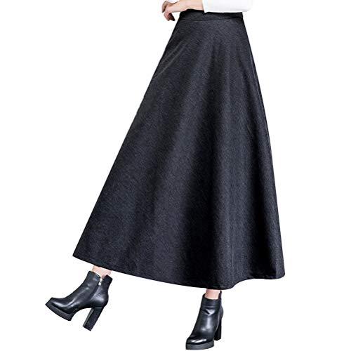 CLFYOU Jupe Longue Hiver pour Les Femmes de la Mode d'hiver Jupe Longue pour Les Femmes Fluffy Flare épais A-Ligne Mesdames Jupe Taille Haute Jupe Grande balançoire