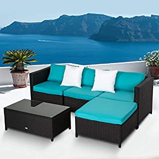 Kinbor Outdoor Furniture Sectional Sofa (5-Piece Set) All-Weather Wicker with Blue Cushions & Glass Coffee Table   Patio, Backyard, Pool