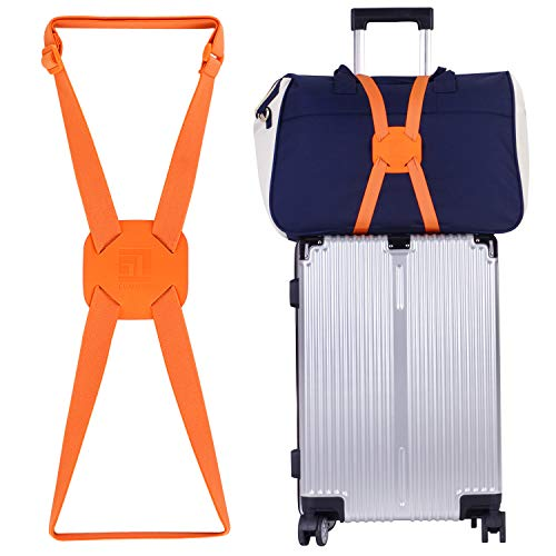 Luggage Straps Bag Bungees for Add a Bag Easy to Travel Suitcase Elastic Strap Belt(Orange)