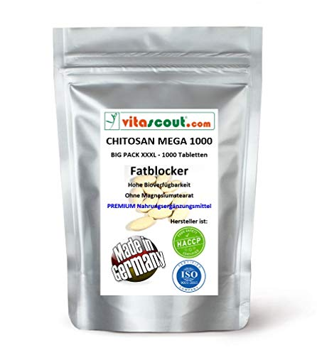 CHITOSAN MEGA 1000 Tabletten - hochdosiert - OHNE MAGNESIUMSTEARAT - MADE IN GERMANY - SB*: Fatblocker Diät Carb Blocker Low Fat