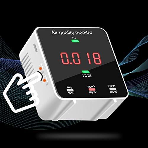 TELAM Monitor de calidad del aire portátil para medidor de CO2 PM2.5 ppm Sensor de partículas Detector de polvo Mini detector de dióxido de carbono Analizador de gas Batería recargable