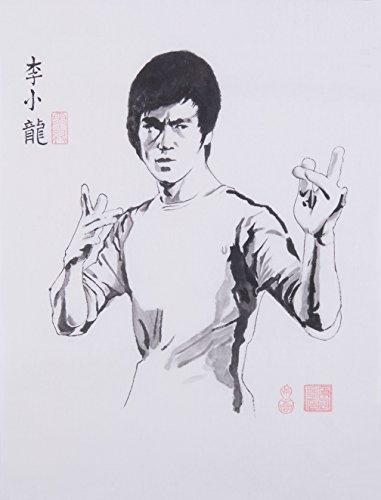 Jiangnanruyi Art Kungfu Bruce Lee peinte à la main des illustrations sans cadre chinois Brosse Lavage à encre et aquarelle Peinture Dessin Tableau sur papier de riz Décoration pour bureau Salon Chambre à coucher, Papier, 23.6\