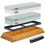 Vaorwne - Set di pietre per affilare, 2 in 1, 400/1000 3000/8000, supporto in legno e guida per coltelli inclusi