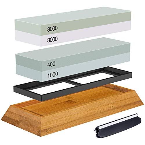 Vaorwne Juego de piedras para afilar, piedra de afilar 2 en 1 400/1000 3000/8000, soporte de madera y guía de cuchillo incluida