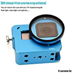 """Gurmoir Case Aluminum Alloy Back Door Housing Frame for Gopro Hero 8 Black Action Camera, Wire connectable Protective… 13 This Aluminum Housing Designed for Gopro Hero 5/Gopro HERO (2018) Action Camera, Blue Make Your Gopro More Unique Your Gopro camera will be more safety during high-velocity sport or daily using. No more worries about the camera will falling out. you can just enjoy your shooting time with 1/4 inch screw hole. the case can compatible with any 1/4"""" tripod. or you can DIY your kit. Sides open allow quick connect of cables. with the Cold Shoe, you can mount a flash, video light, microphone on the top of this case"""