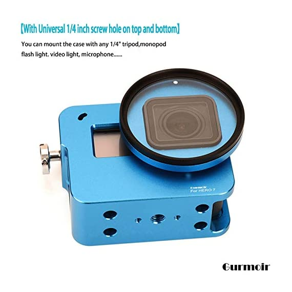 """Gurmoir Case Aluminum Alloy Back Door Housing Frame for Gopro Hero 8 Black Action Camera, Wire connectable Protective… 6 This Aluminum Housing Designed for Gopro Hero 5/Gopro HERO (2018) Action Camera, Blue Make Your Gopro More Unique Your Gopro camera will be more safety during high-velocity sport or daily using. No more worries about the camera will falling out. you can just enjoy your shooting time with 1/4 inch screw hole. the case can compatible with any 1/4"""" tripod. or you can DIY your kit. Sides open allow quick connect of cables. with the Cold Shoe, you can mount a flash, video light, microphone on the top of this case"""