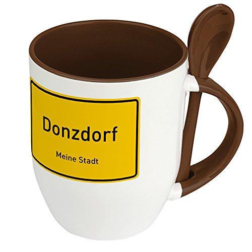 Städtetasse Donzdorf - Löffel-Tasse mit Motiv Ortsschild - Becher, Kaffeetasse, Kaffeebecher, Mug - Braun